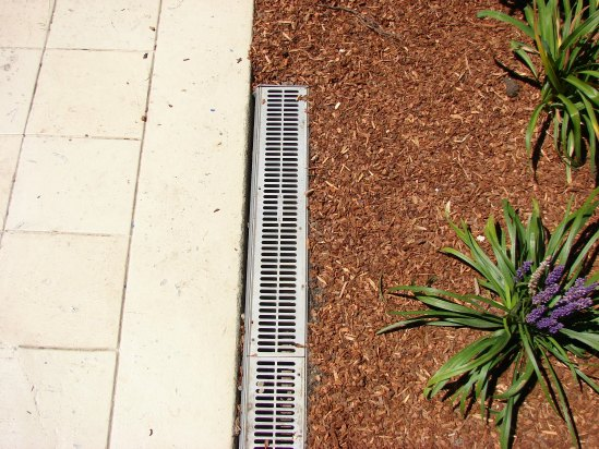 Channel Drain at Patio Edge