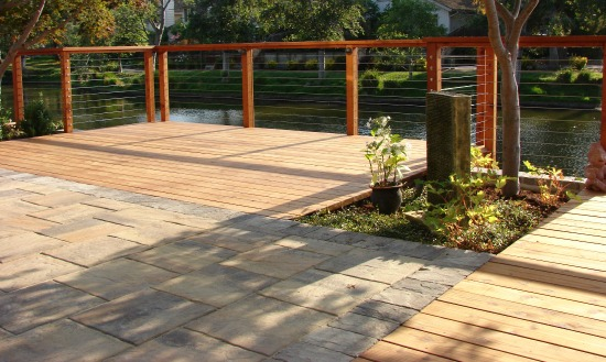 Redwood Deck with Feeney Wire Railing