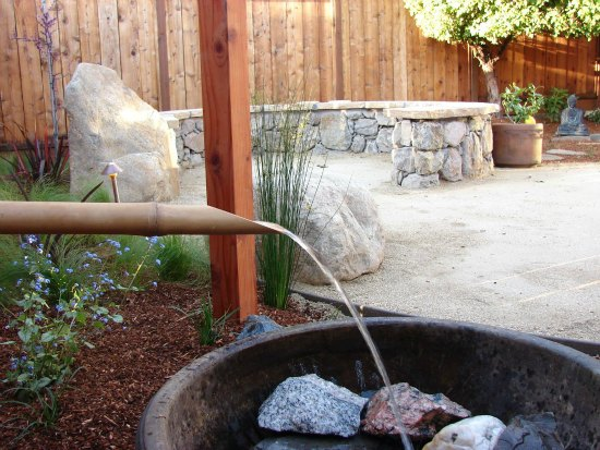 Bamboo Water Feature with Stone Garden Bench
