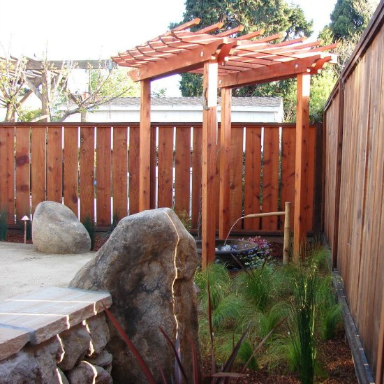 Custom Redwood Trellis with Water Feature