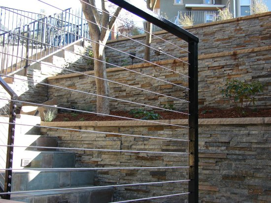 Custom Wire Handrailing with Terraced Retaining Wall