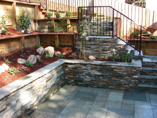 Stone Wall and Bluestone Patio
