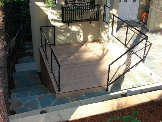 Trex Decking with Custom Wire Handrail and Guardrails