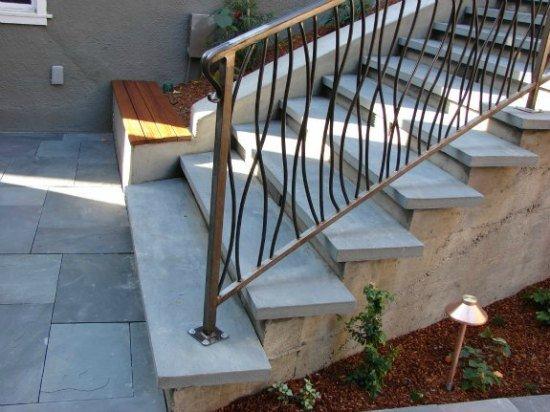 Custom Iron Handrailing in Bluestone Stairs