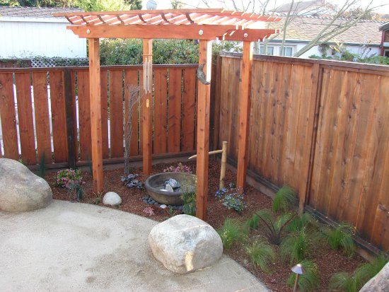 Custom Redwood Trellis and Water Feature