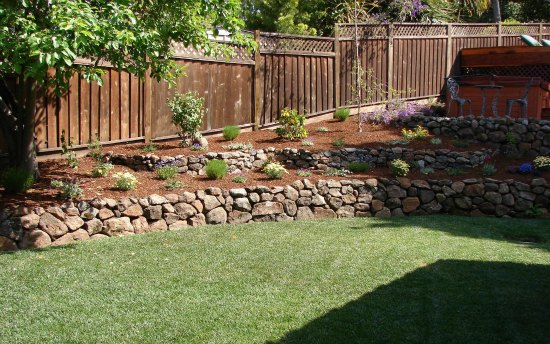 Lawn with Terraced Retaining Wall