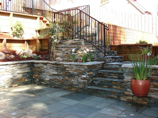 Stone Walls and Stairs with Iron Hand Railings